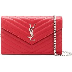 Saint Laurent Monogram chain wallet (€1.370) ❤ liked on Polyvore featuring bags, wallets, red, leather bags, yves saint laurent wallet, red wallet, red leather wallet and monogrammed leather wallet