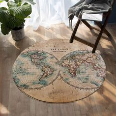 Vintage World Map Decorative Round Rug,Retro Geography Lover Gift - Diameter 59'' (150 cm)