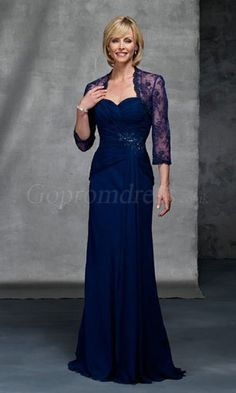 Fancy Sweetheart Chiffon Floor Length Lace Sleeves Ruffles Sexy Mother Of Brides Dress - Mother of the Bride Dresses - Wedding Party Dresses Mother Of The Bride Gown, Mother Of Groom Dresses, Mothers Dresses, Mob Dresses, Prom Dresses Blue, Bridesmaid Dresses, Chiffon Evening Dresses, Evening Gowns, Evening Party