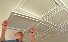pEmbossed polystryrene foam ceiling tiles are easy to install while adding