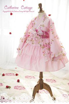羽衣付き着物ドレス ローズ柄 ピンク キャサリンコテージ 子供ドレス kids dress