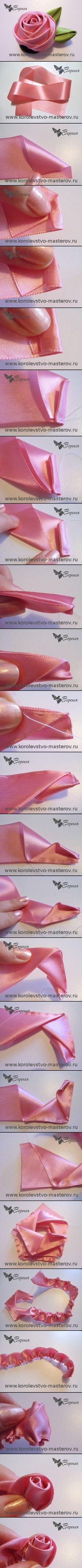 how to make ribbon roses Ribbon Art, Diy Ribbon, Fabric Ribbon, Ribbon Crafts, Flower Crafts, Ribbon Bows, Fabric Crafts, Ribbons, Cloth Flowers