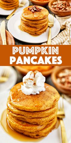 Pumpkin Pancakes - this recipe makes perfect fluffy pumpkin pancakes loaded with real pumpkin, cinnamon, and drizzled with pure maple syrup.