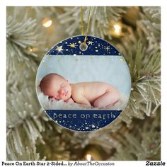 Peace On Earth Star 2-Sided Baby's First Christmas Ceramic Ornament Baby First Christmas Ornament, Baby Ornaments, Babies First Christmas, Christmas Cards, First Christmas Photos, Star Children, Peace On Earth, Unique Photo, Baby Photos