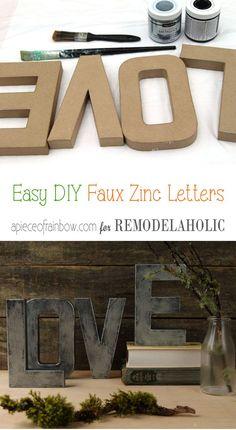 Diy Faux Zinc Letters | Home Decor | Easy Craft Idea