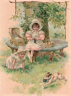 "Sweet Play-Kate Greenway.... the note tucked inside said, ""This was cut from a children's book, circa 1900,,,""Happy Playmates"".