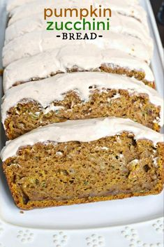 Shugary Sweets Pumpkin Zucchini Bread is an incredibly moist, flavorful treat topped with a cinnamon cream cheese frosting! Makes TWO freezer friendly loaves! Dessert Bread, Dessert Recipes, Recipes Dinner, Fall Recipes, Holiday Recipes, Pumpkin Zucchini Bread, Pumpkin Cream Cheese Bread, Healthy Pumpkin Bread, Cinnamon Cream Cheese Frosting