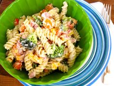 Ranch Pasta Salad - Made this for family reunion.  Don't forget salt & pepper! Maybe 2 packets of ranch dressing mix.