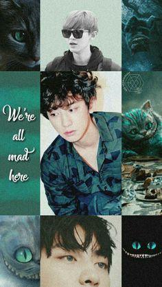 Chanyeol Baekhyun, Park Chanyeol, Lock Screen Wallpaper, Wallpaper Lockscreen, Wallpapers, Were All Mad Here, Exo Memes, Kpop, Colorful Wallpaper