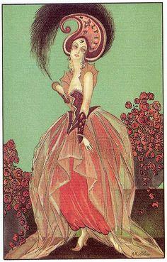 Art Deco postcard 3 by M. Montedoro, 1920s. ~via Gatochy, Flickr