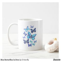 Blue Butterflies In Dots Coffee Mug Blue Butterfly, Cute Gifts, Spice Things Up, Butterflies, Coffee Mugs, Dots, Create, Tableware, How To Make