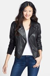 $298 Halogen® Zip Detail Leather Moto Jacket (Regular & Petite) available at Nordstrom.
