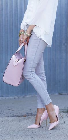 Pink, White And Grey Outfit Idea by Pink Peonies
