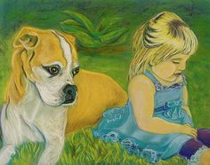 """latest finished commission-  D. Renée Wilson, """"The Guardian"""" Special Pawtrait / Child combo for a father's birthday :)   www.facebook.com/dreneewilsonart"""