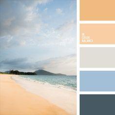 amarillo naranja, anaranjado claro, azul oscuro y celeste, celeste, color arena de Goa, color arena marina, color azul océano, color miel, elección del color, marrón grisáceo, paleta de colores para reformar un piso, selección de colores para un dormitorio, tonos pastel de color azul