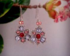 Tatting lace chandelier earrings.  Earrings frivolite. Beaded earrings.Long earrings.Victorian style earrings.Filigrees earrings by ezdessin. Explore more products on http://ezdessin.etsy.com