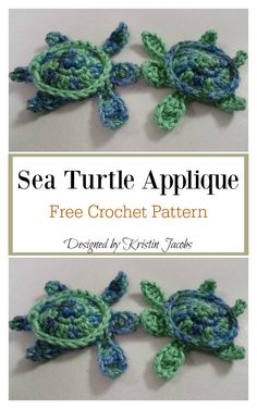 Crochet For Beginners Sea Turtle Appliques Free Crochet Pattern Crochet Turtle Pattern Free, Crochet Applique Patterns Free, Crochet Flower Patterns, Crochet Blanket Patterns, Crochet Ideas, Crochet Blankets, Crochet Designs, Dress Patterns, Crochet Easter