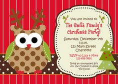 Owl Christmas party invitation   Christmas by TheButterflyPress