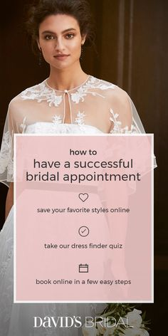 Our expert stylists would love to help you put together your head-to-toe wedding look. Make an appointment today at davidsbridal.com.