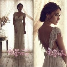 2015 Anna Campbell Vestidos De Noiva Lace Wedding Dresses Sweetheart Cap Sleeves Beaded Crystal Backless Vintage Bridal Gowns BO2212, $154.68 | DHgate.com