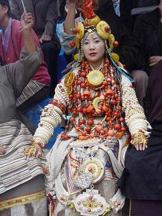 Lady Head to Toe covered in Amazing Tibetan Jewelry at King Gesar Arts Festival