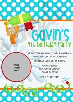 Water Gun Water Party Birthday Invitation