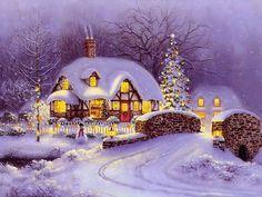 Thomas Kinkade Christmas Cottage - I've Always Loved This Picture! The Christmas Song, Christmas Scenes, Christmas Past, Vintage Christmas Cards, Country Christmas, Christmas Pictures, Winter Christmas, Cottage Christmas, Christmas Prayer