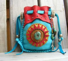 HIGH DESERT SUN deerskin leather Medicine Bag / Spirit Pouch with turquoise