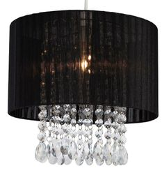 The Organza Easy Fit Lamp Shade by Firstlight Lighting is available from Luxury Lighting. The Firstlight Organza  easy-fit ceiling lampshade has a translucent black fabric shade and clear acrylic drops.