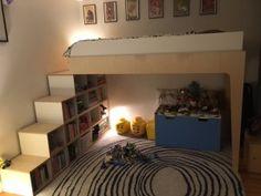 lit mezzanine sur mesure en contreplaqué bouleau et contreplaqué de bouelau filmé blanc
