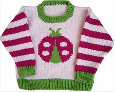 Ravelry: Ladybug Crewneck pattern by Gail Pfeifle, Roo Designs Baby Boy Sweater, Knit Baby Sweaters, Baby Vest, Boys Sweaters, Baby Cardigan, Baby Boy Knitting Patterns, Knitting For Kids, Crochet For Kids, Baby Patterns