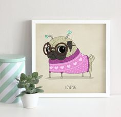Art print limited edition pug illustration dog by agrapedesign