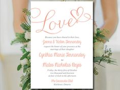 "Printable Wedding Invitation Template - Heart Invitation Wedding Template - ""Love"" Script Coral Wedding Invitation Card Download by PaintTheDayDesigns on Etsy"