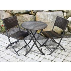 Round Borshi All-Weather Wicker Bistro Set, 3-Piece