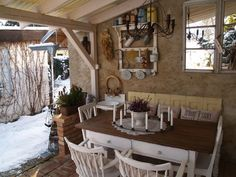 ... Back Patio, Beautiful Homes, Pergola, Dining Table, Farmhouse, Cottage, Gardening, Kitchen, Outdoor