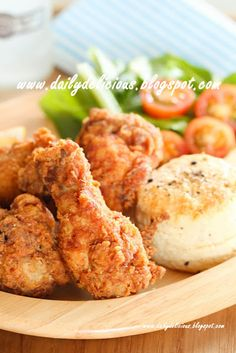 dailydelicious: Parmesan Fried chicken drumettes with salt and pepper biscuits