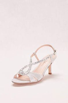 ca977441f2a View Glitter Low Heel with Crystal Embellished T-Strap AVERO51 Low Heel  Shoes