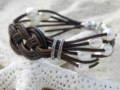 Cuero perlas plata pulsera náutica playa verano