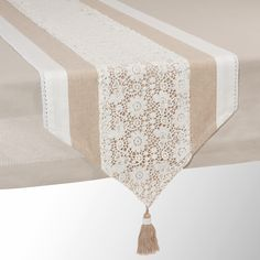 Runner da tavolo beige in cotone L 150 cm WONDERFUL