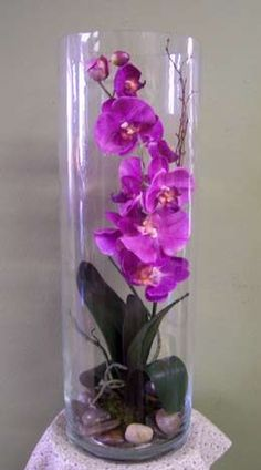 permanent orchid flower arrangement More - Orchid Flower Arrangements, Artificial Flower Arrangements, Flower Vases, Flower Pots, Orchid Vase, Phalaenopsis Orchid, Tall Glass Vases, Clear Vases, Deco Floral