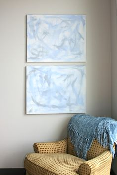 Semblance #2 & #3  Acrylic on canvas 30x24 each  Light, airy with a floating feeling, the Semblance series shimmers in silver, blues and white.