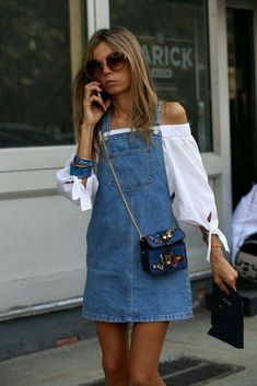 Cute denim overall dress with white off the shoulder top