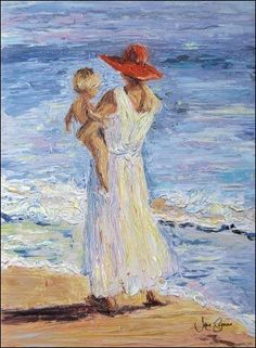 150 Paintings: Children on the Beach ideas | painting, beach painting, beach art