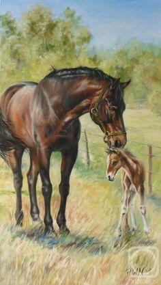 A Gentle Nudge~ by Neprijatel Julia. Baby Horses, Cute Horses, Horse Love, Beautiful Horses, Horse Head Drawing, Arte Equina, Farmhouse Paintings, Horse Illustration, Animal Art Prints