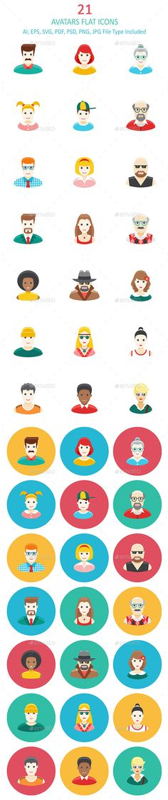 Avatars Flat Icons #design Download: http://graphicriver.net/item/avatars-flat-icons/12327002?ref=ksioks