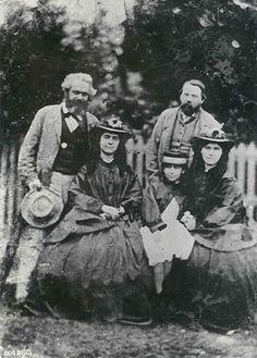 (1864) Left to Right - Karl Marx, Jenny Marx, Eleanor Marx, Friedrich Engels, and Laura Marx
