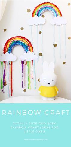 Cute simple rainbow paper plate craft - great toddler or preschool | kindergarten activity also looks cute in a kids bedroom