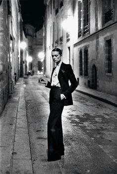 Helmut Newton: Yves Saint Laurent, French Vogue, Rue Aubriot, Paris 1975