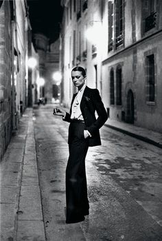 Helmut Newton: Yves Saint Laurent, French Vogue, Rue Aubriot, Paris 1975