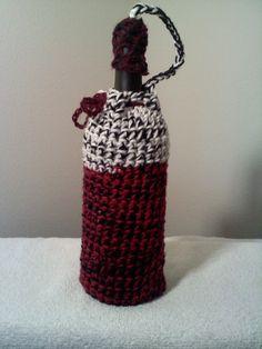Crocheted Burgundy Black and White Wine Bottle Cozy by steveross4, $8.00